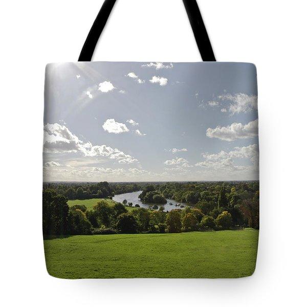 Tote Bag featuring the photograph Sun Glare by Maj Seda