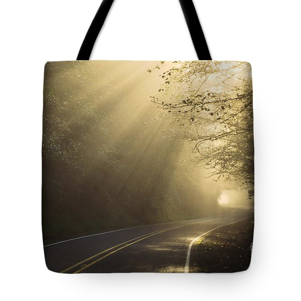 Sun Rays On Road Tote Bag by Ron Sanford and Photo Researchers