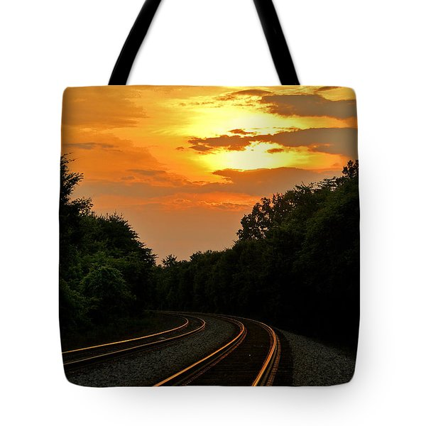 Sun Reflecting On Tracks Tote Bag by Benanne Stiens