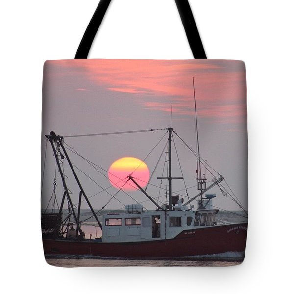 Sun Rises On A Fishing Boat Tote Bag