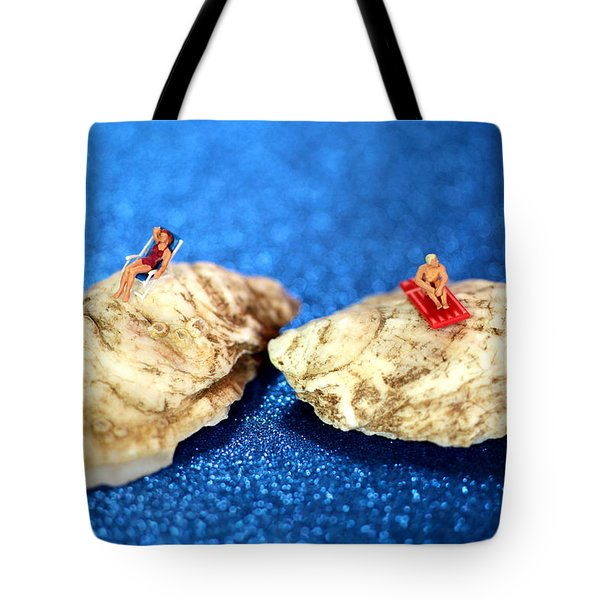 Sunbathers On Shells Tote Bag by Paul Ge