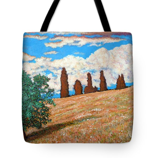 Tote Bag featuring the painting Sundown by Tom Roderick