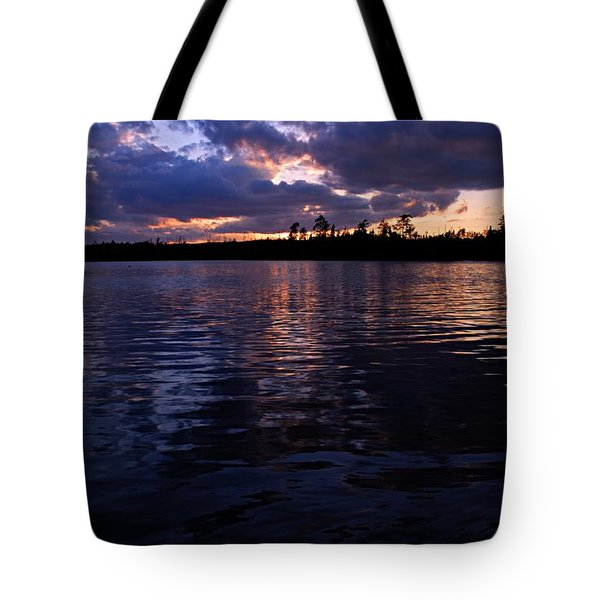 Sunet On Spoon Lake Tote Bag by Larry Ricker