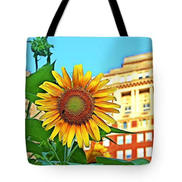 Tote Bag featuring the photograph Sunflower In The City by Alice Gipson