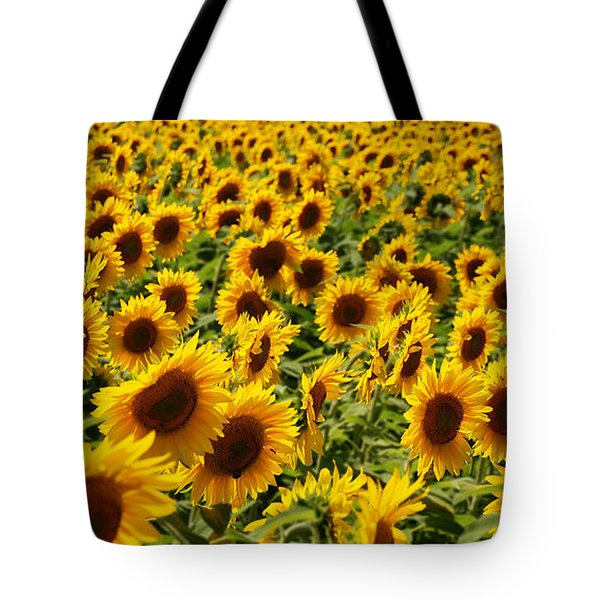 Tote Bag featuring the photograph Sunflower Panorama by Nancy De Flon