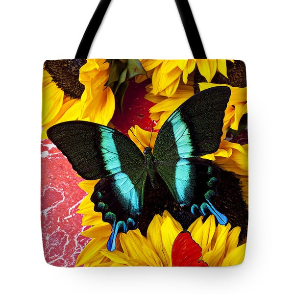 Sunflowers And Butterflies Tote Bag by Garry Gay
