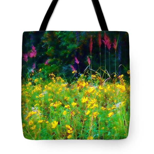 Sunflowers And Grasses Tote Bag by Judi Bagwell