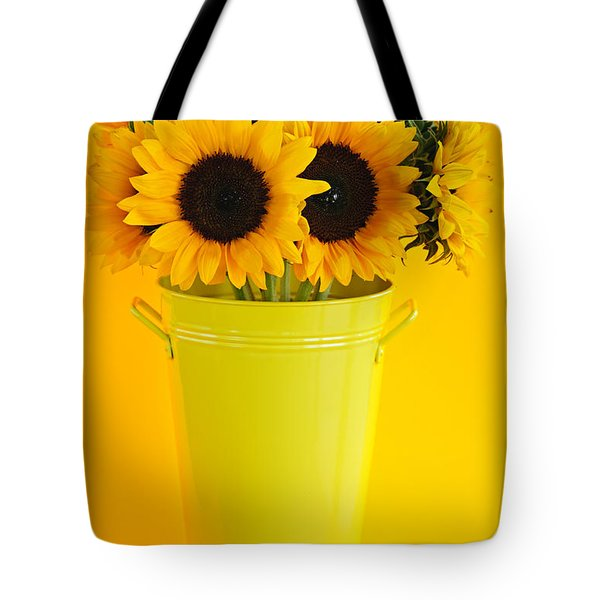 Sunflowers In Vase Tote Bag by Elena Elisseeva