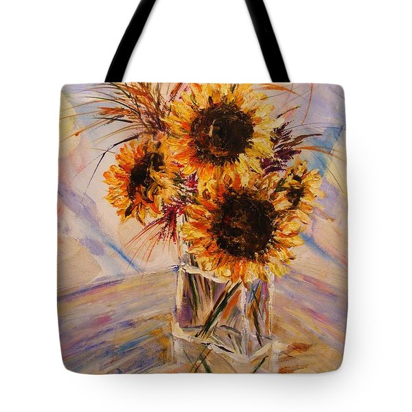Tote Bag featuring the painting Sunflowers by Karen  Ferrand Carroll