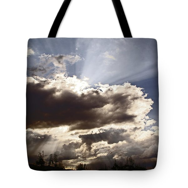 Sunlight And Stormy Skies Tote Bag by Mick Anderson