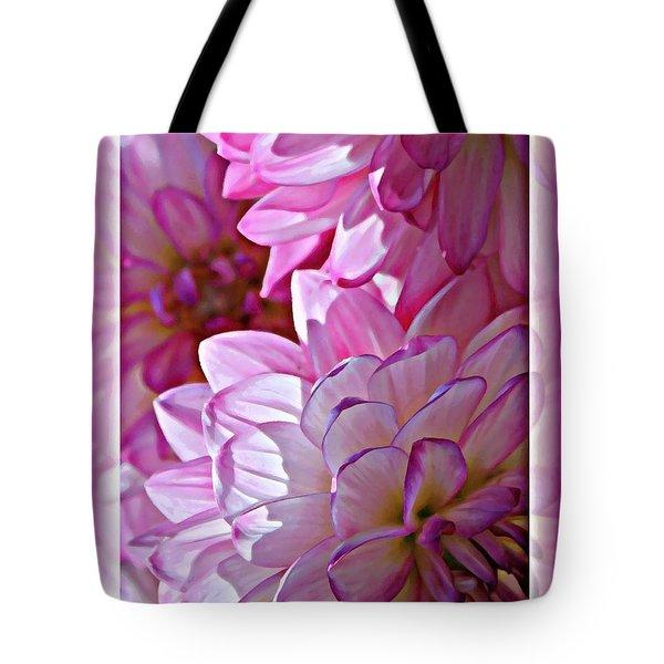 Sunlight Through Pink Dahlias Tote Bag by Carol Groenen