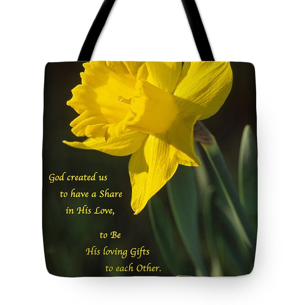 Sunny Daffodil With Quote Tote Bag