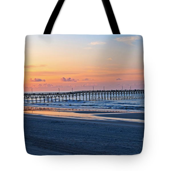 Sunrise At Cherry Grove Pier Tote Bag