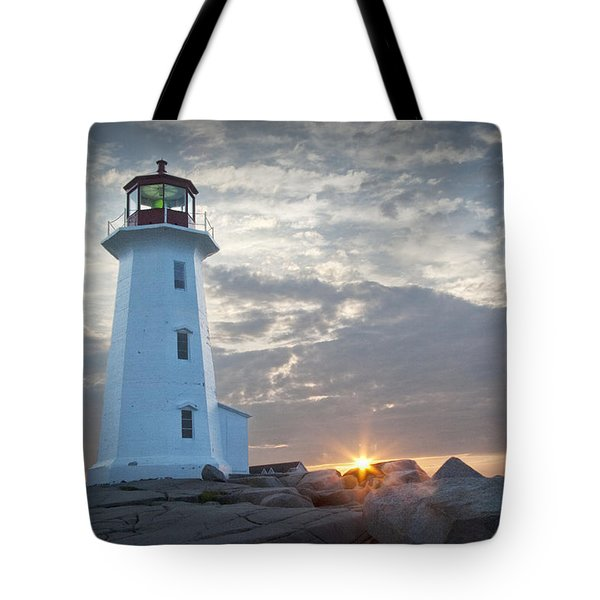 Sunrise At Peggys Cove Lighthouse In Nova Scotia Number 041 Tote Bag