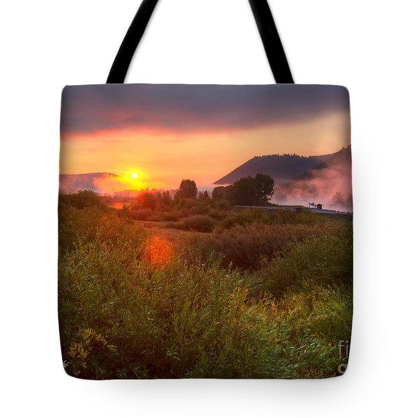 Sunrise At Snake River Tote Bag
