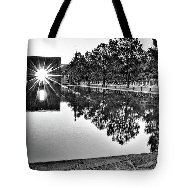 Sunrise At The Alfred P Murrah Memorial Tote Bag by Tamyra Ayles