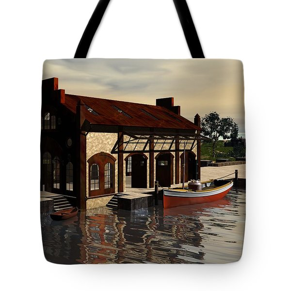 Tote Bag featuring the digital art Sunrise At The Wharf by John Pangia