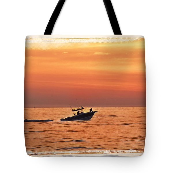 Tote Bag featuring the photograph Sunrise Boat Ride by Janie Johnson
