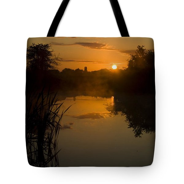 Sunrise By A Lake Tote Bag by Pixie Copley