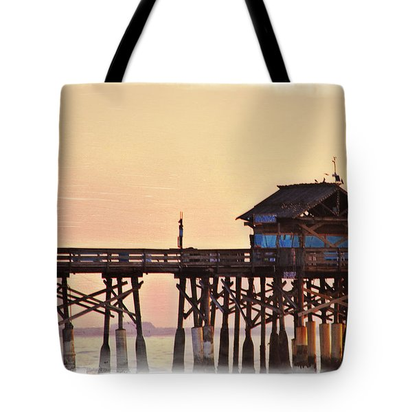 Tote Bag featuring the photograph Sunrise On Rickety Pier by Janie Johnson