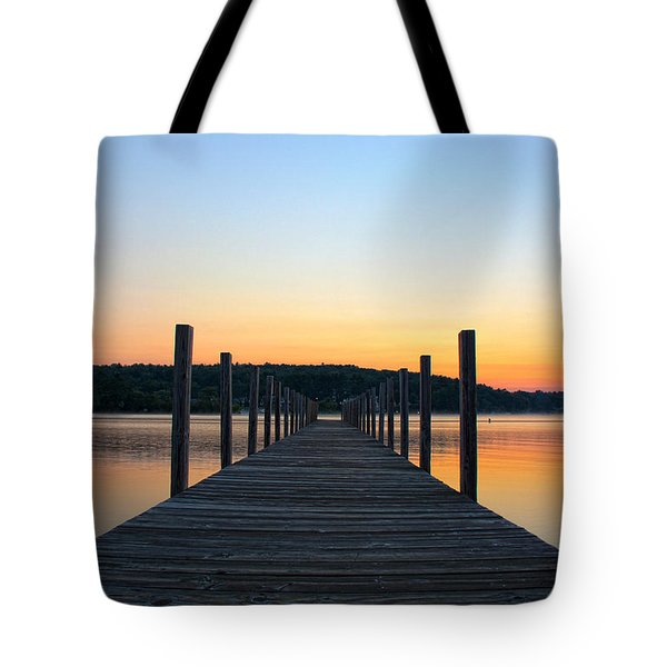 Sunrise On The Docks Tote Bag by Michael Mooney