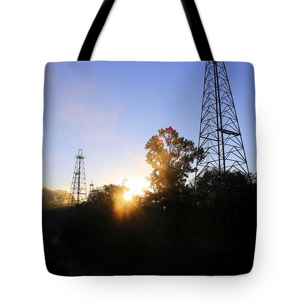 Sunrise On The Sabine Tote Bag by Kathy  White