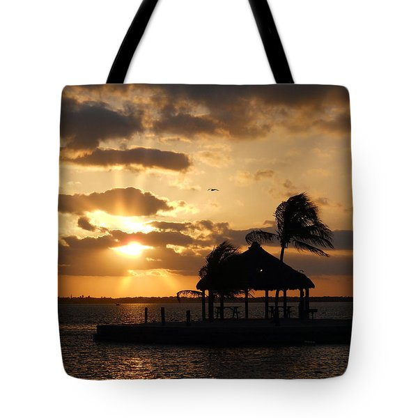 Tote Bag featuring the photograph Sunrise Over Bay by Clara Sue Beym