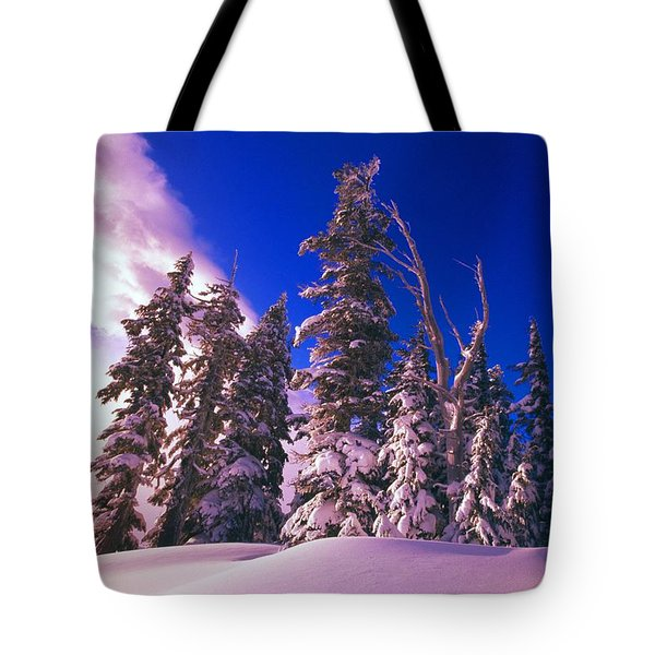 Sunrise Over Snow-covered Pine Trees Tote Bag by Natural Selection Craig Tuttle