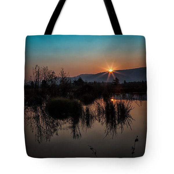 Sunrise Over The Beaver Pond Tote Bag