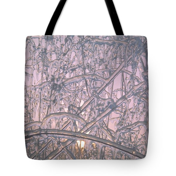 Sunrise Through Ice Covered Shrub Tote Bag by Tom Wurl