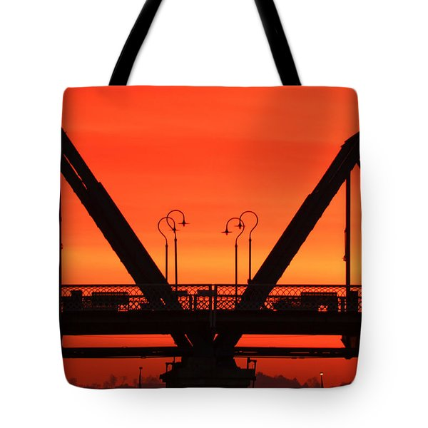 Sunrise Walnut Street Bridge Tote Bag by Tom and Pat Cory