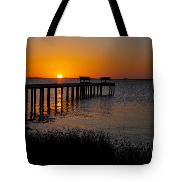 Sunset Across Currituck Sound Tote Bag