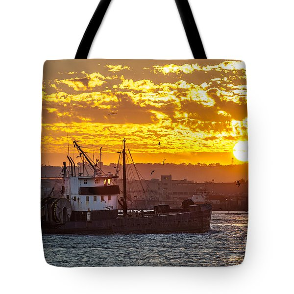 Tote Bag featuring the photograph Sunset And Boat On San Diego Bay by Sonny Marcyan