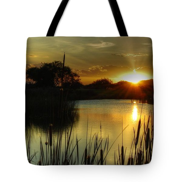 Sunset And Cattails Tote Bag by Tam Ryan