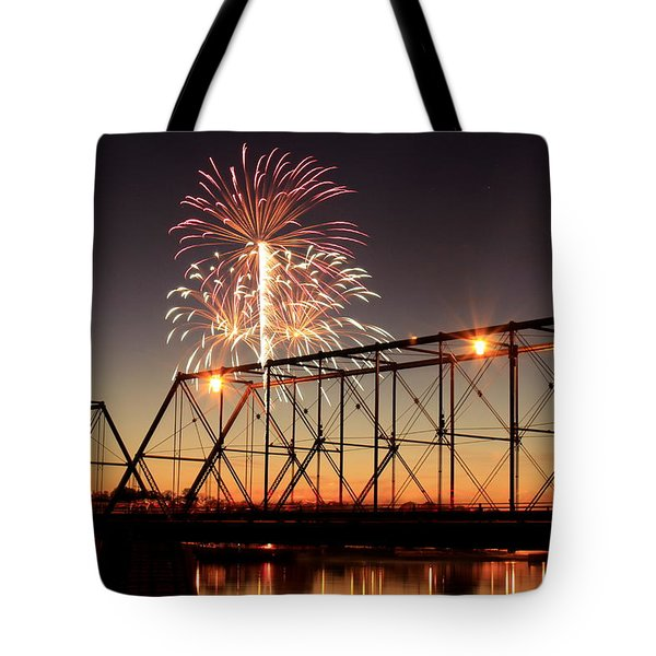 Sunset And Fireworks Tote Bag