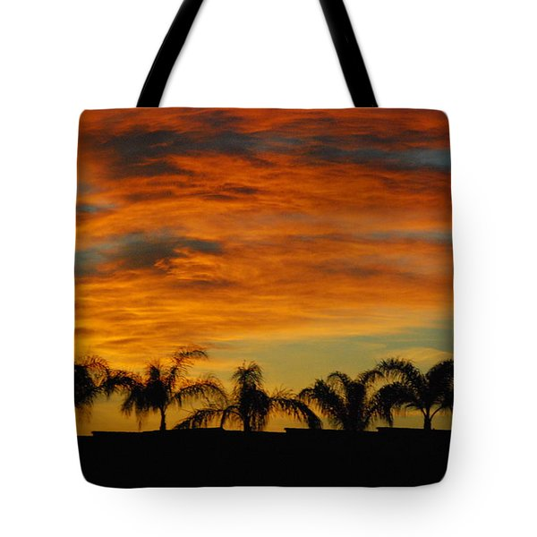 Sunset And Palms Tote Bag by Janice Adomeit