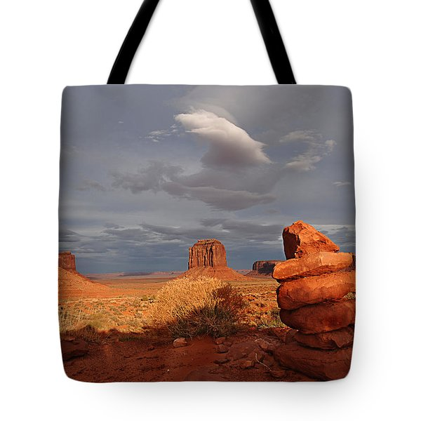 Sunset At Monument Valley Tote Bag