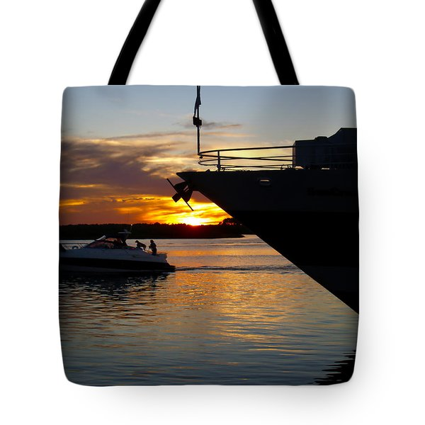 Sunset At The Shore Tote Bag by Barbara Middleton
