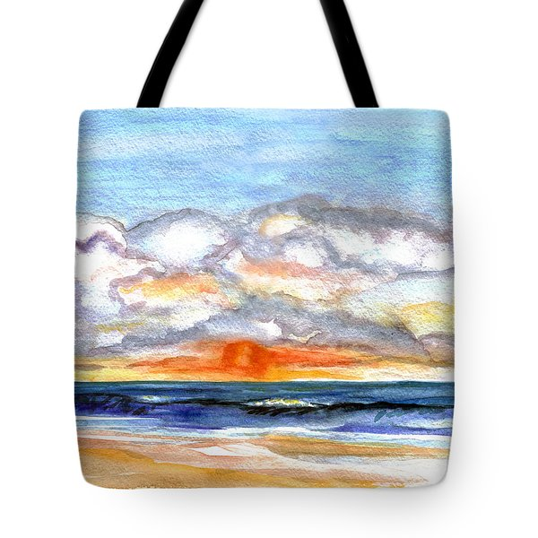 Tote Bag featuring the painting Sunset Clouds by Clara Sue Beym