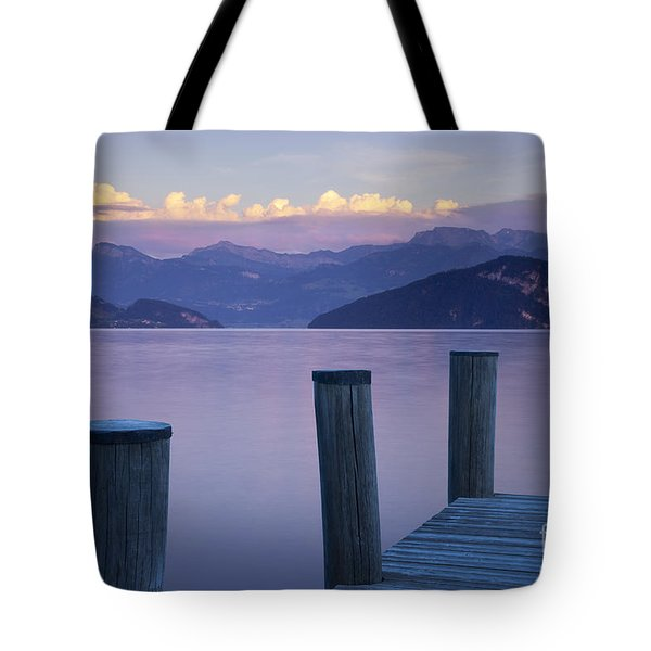 Sunset Dock Tote Bag by Brian Jannsen