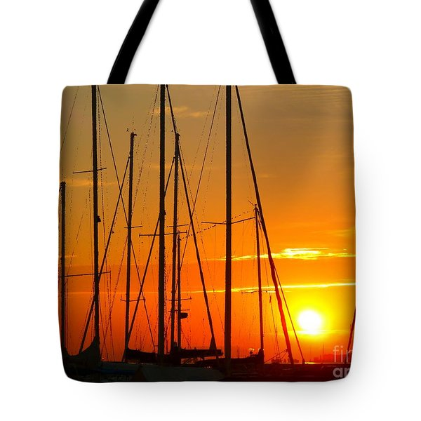 Sunset In A Harbour Digital Photo Painting Tote Bag