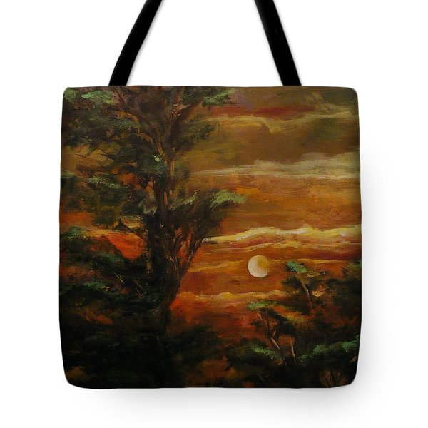 Tote Bag featuring the painting Sunset  by Karen  Ferrand Carroll