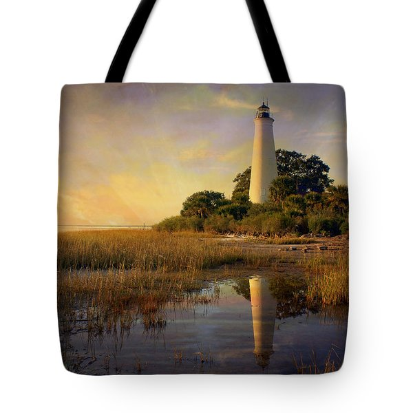 Sunset Lighthouse 3 Tote Bag by Marty Koch