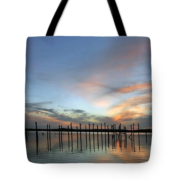 Tote Bag featuring the photograph sunset marina Everglades by Dan Friend