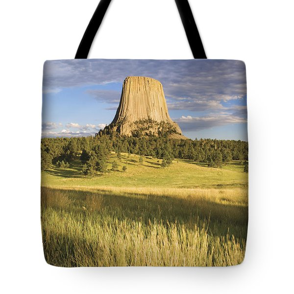Sunset On Devils Tower Wyoming United Tote Bag by Philippe Widling