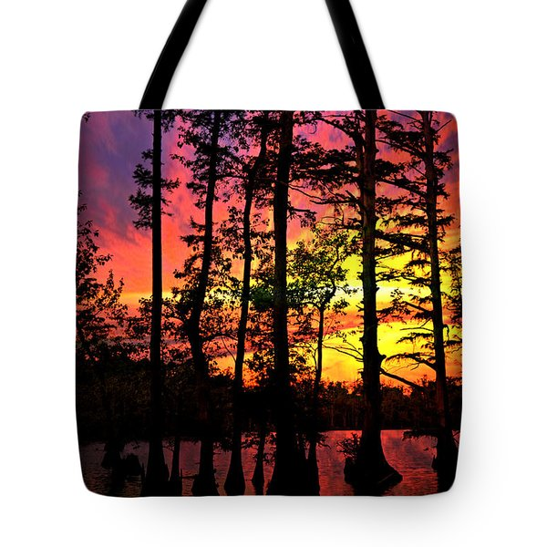 Sunset On Horseshoe Lake 1 Tote Bag by Marty Koch