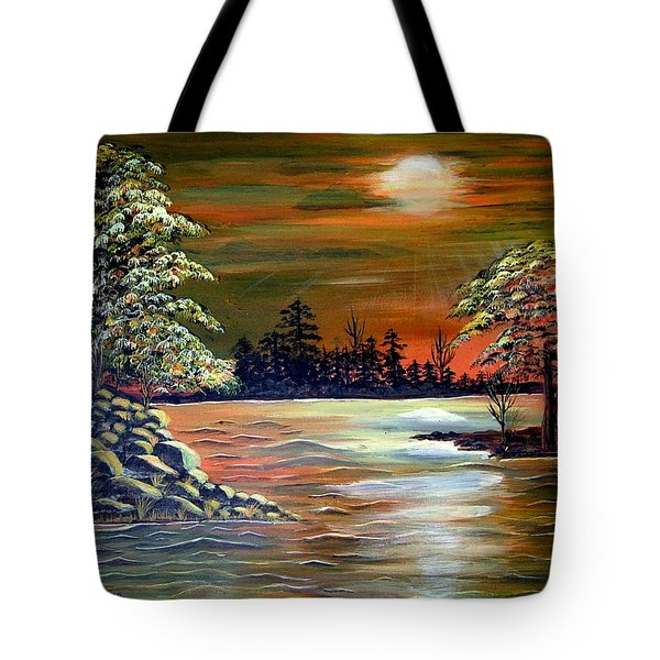 Sunset On Lake Windsor Tote Bag