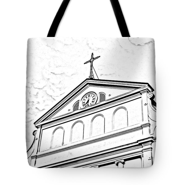 Sunset On St Louis Cathedral In Jackson Square French Quarter New Orleans Photocopy Digital Art Tote Bag by Shawn O'Brien