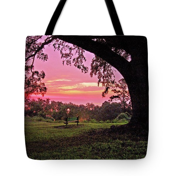 Sunset On The Bench Tote Bag by Michael Thomas