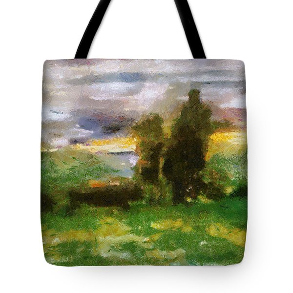 Sunset On The Road - The Highway Series Tote Bag by Michelle Calkins